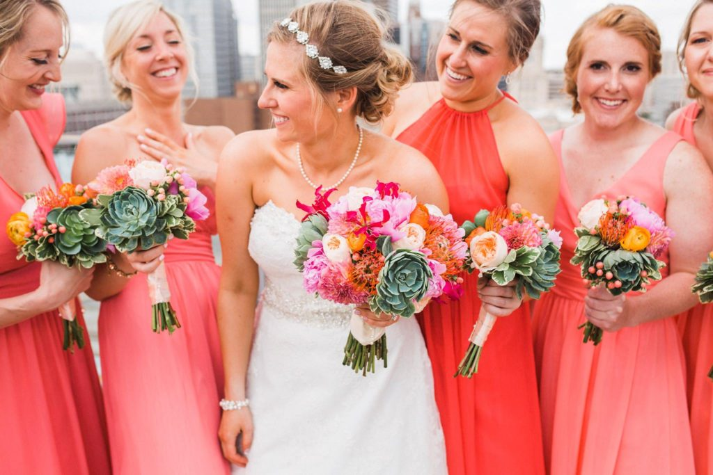 Coral wedding flowers, photo by Kelsey Sutton Photography