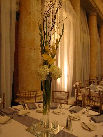 White hydrangea and yellow gladiolas at the Temple of Performing Arts