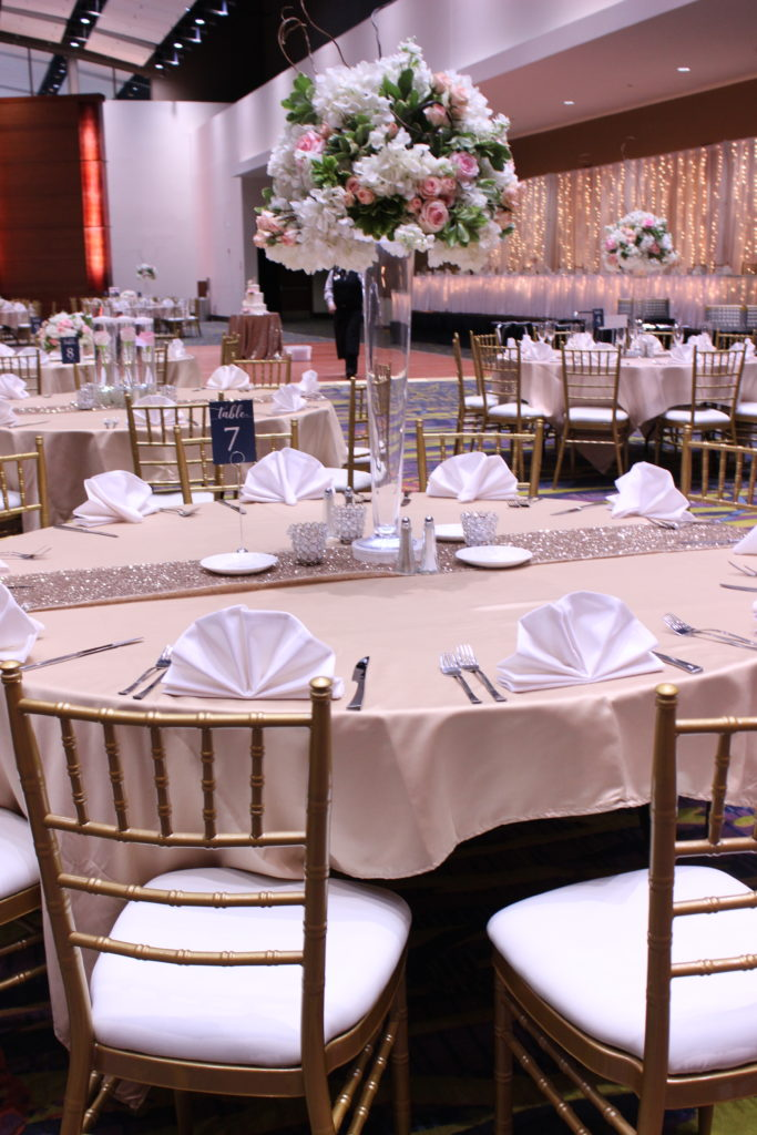 Blush and Champagne wedding Iowa Events Center