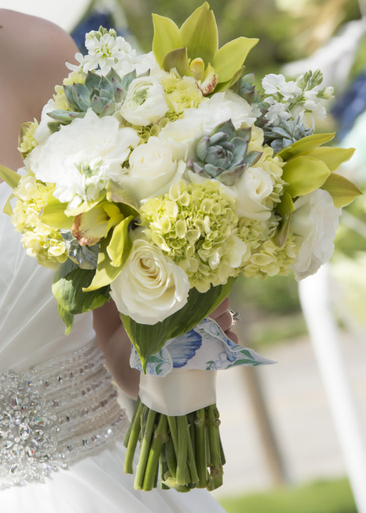 Green, white and blue wedding flowers Photo by Blind Photography